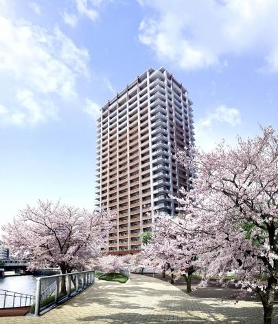 プラウドタワー東五反田と桜