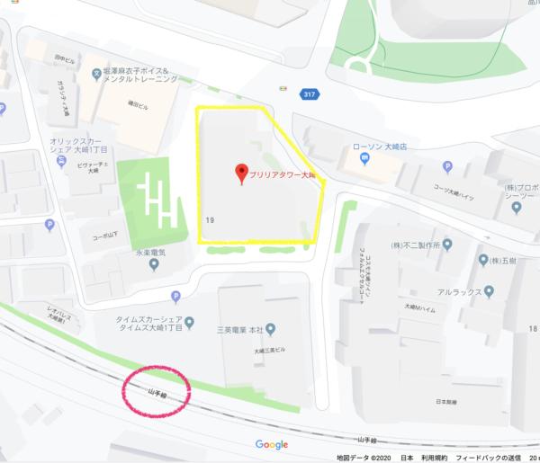 ブリリアタワー大崎 現地周辺地図