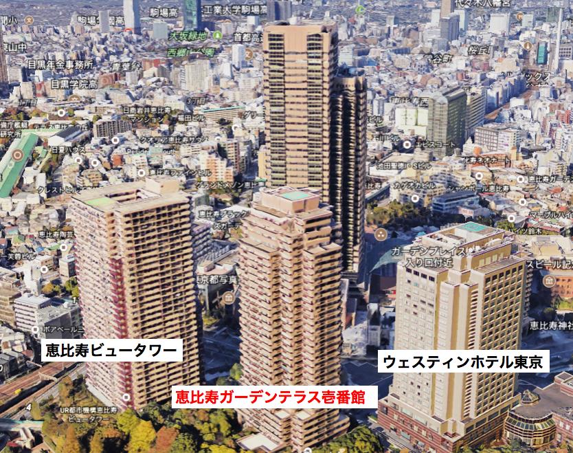 恵比寿ガーデンテラス壱番館の航空写真