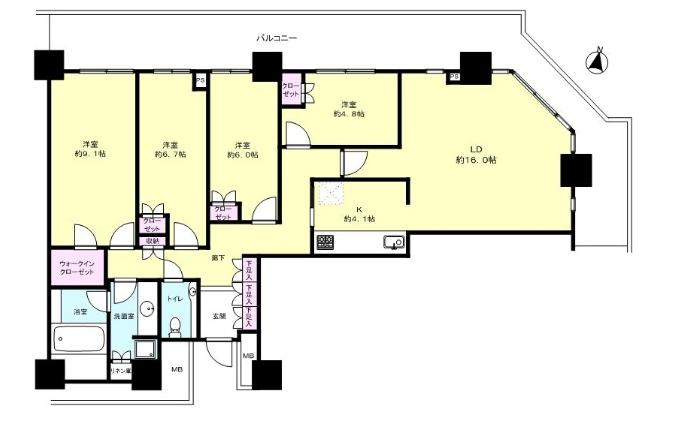 リエトコートの武蔵小杉内のハイグレードルーム図面