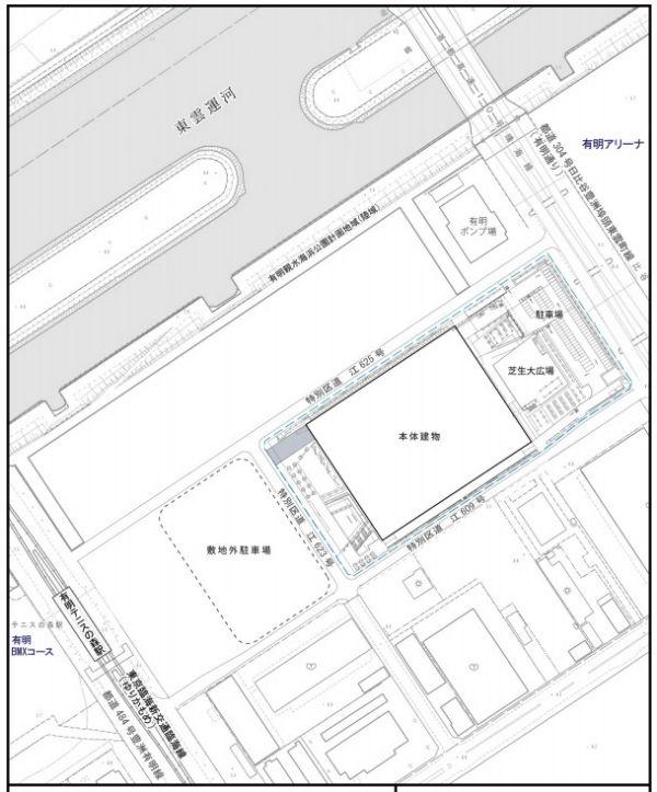 オリンピック終了後の有明体育競技場・敷地図
